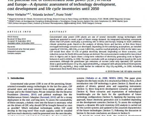 The potential role of concentrated solar power (CSP) in Africa and Europe – A dynamic assessment of technology development, cost development and life cycle inventories until 2050.