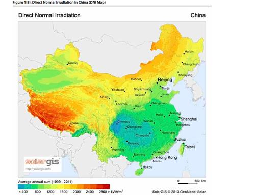 China tendrá 1.350 megavatios de termosolar en 2018